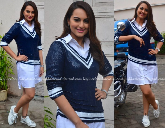 Sonakshi Sinha Wears Monisha Jaising To Akira Promotions-1
