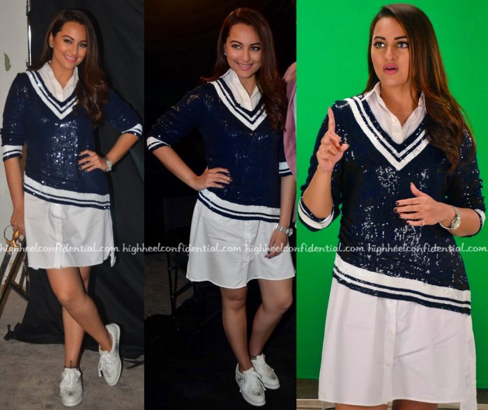 Sonakshi Sinha Wears Monisha Jaising To Akira Promotions-2
