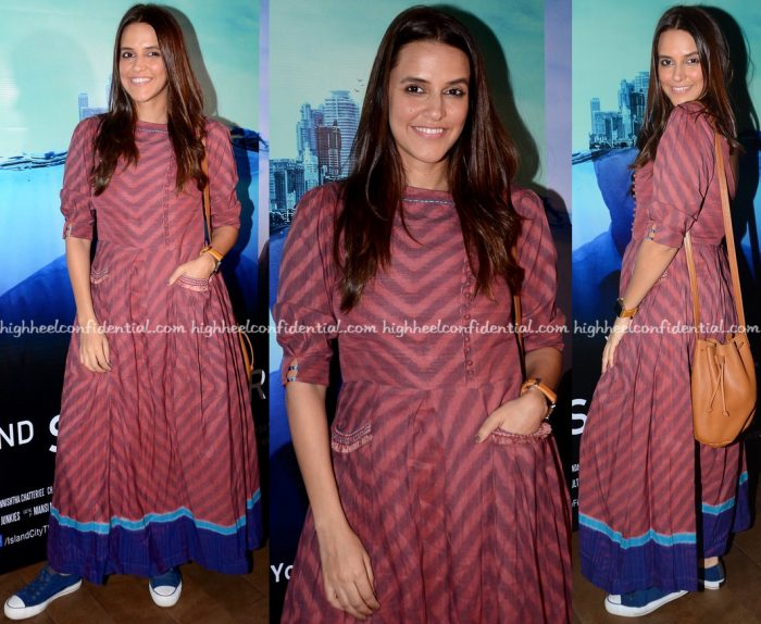 Neha Dhupia Wears Anita Dongre Grassroot To 2nd September Screening-1