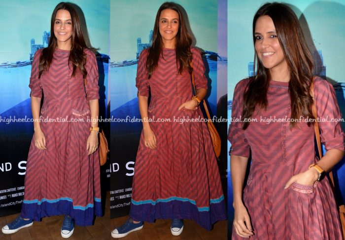 Neha Dhupia Wears Anita Dongre Grassroot To 2nd September Screening-2