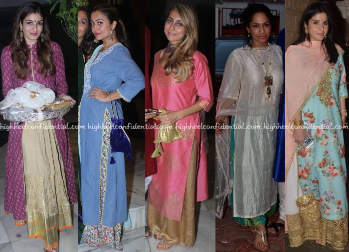 Raveena Tandon, Amrita Rao, Anusha Dandekar, Masaba Gupta, Maheep Kapoor At Ganesh Chaturthi Celebrations 2016-1