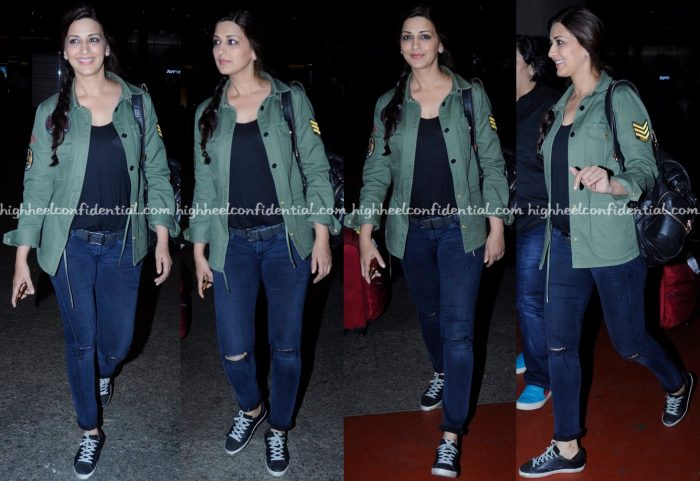 Travel(v)ogue- Sonali Bendre Photographed In Zadig & Voltaire At Mumbai Airport