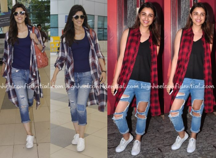 kriti-sanon-parineeti-chopra-denims-checked-shirt