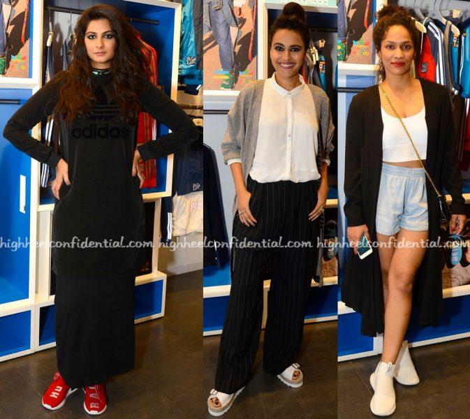 rhea-kapoor-swara-bhaskar-and-masaba-gupta-at-pharrell-williams-x-adidas-launch-1