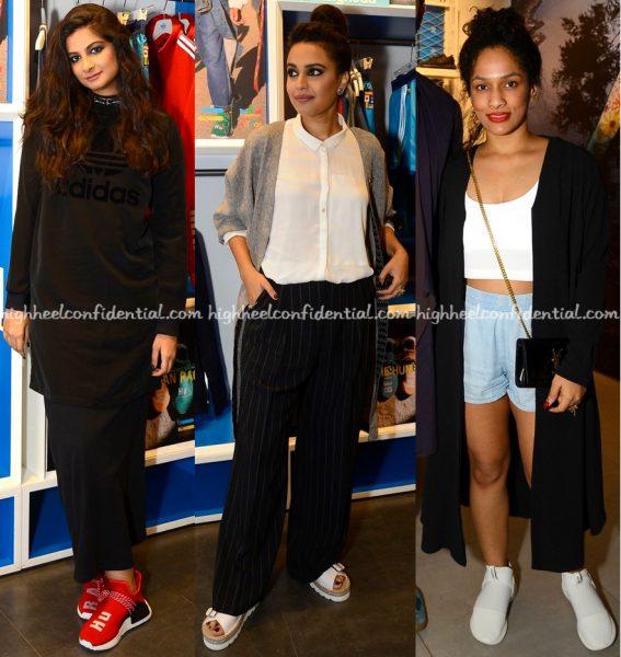 rhea-kapoor-swara-bhaskar-and-masaba-gupta-at-pharrell-williams-x-adidas-launch-2