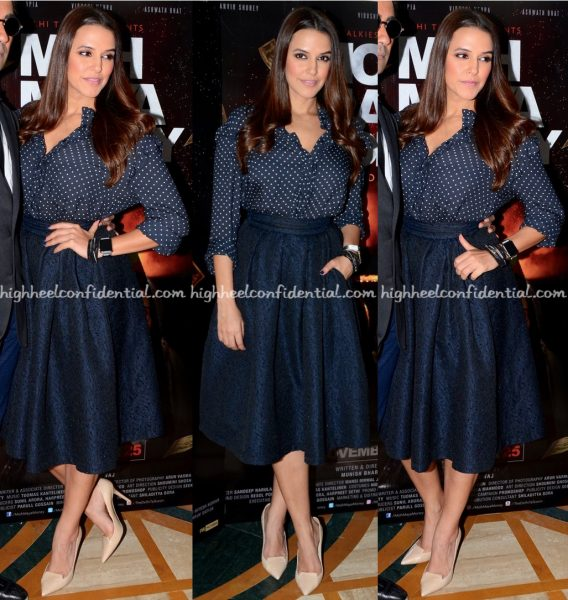 neha-dhupia-wears-hm-and-marks-spencer-to-moh-maya-money-promotions-2