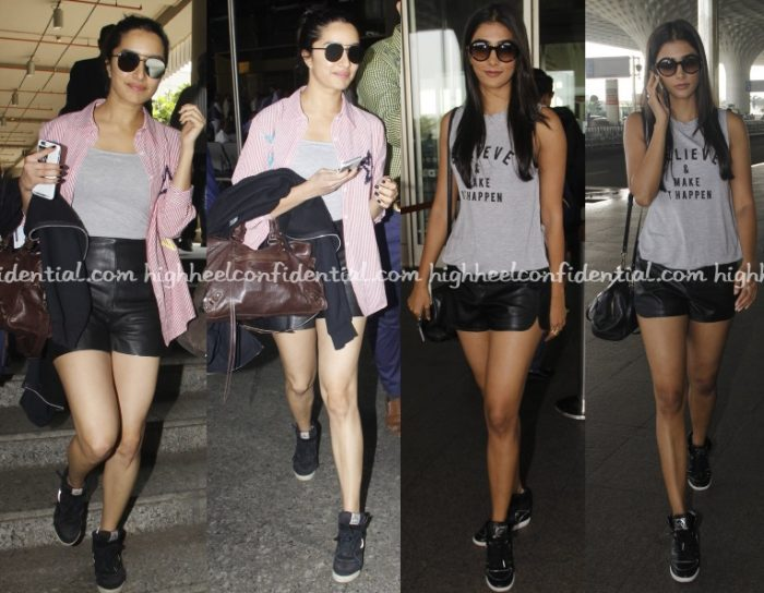 shraddha-kapoor-pooja-hegde-leather-shorts-airport