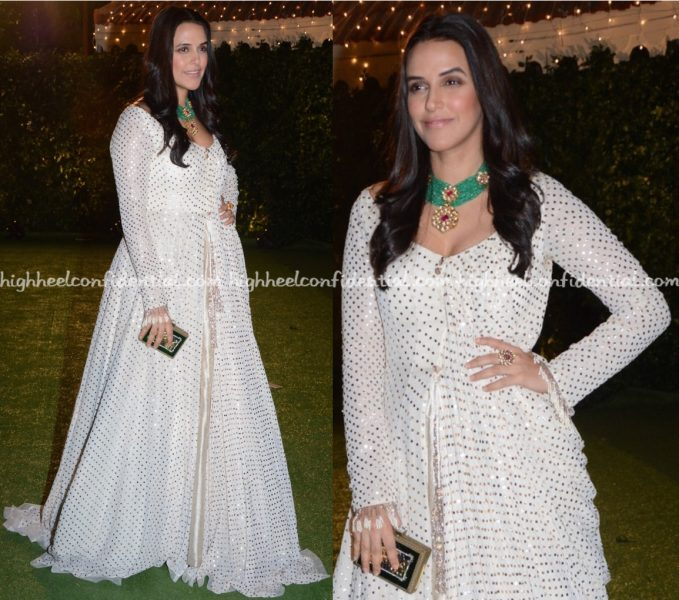 Neha Dhupia Wears Manish Malhotra To Trishya Screwvala-Suhail Chandhok Wedding Reception-1