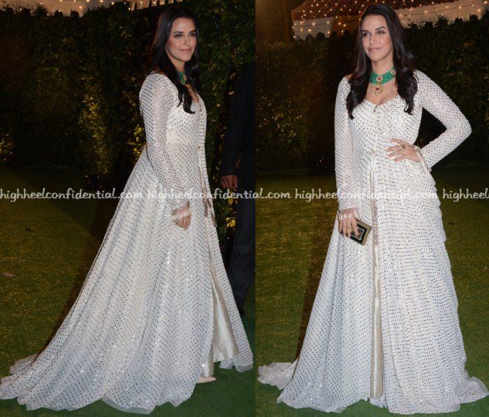 Neha Dhupia Wears Manish Malhotra To Trishya Screwvala-Suhail Chandhok Wedding Reception-2