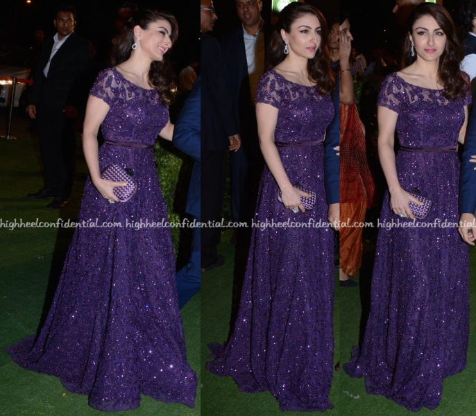 Soha Ali Khan Wears Dimple & Amrin To Trishya Screwvala-Suhail Chandhok Wedding Reception