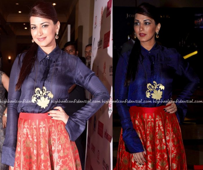 Sonali Bendre Wears Payal Khandwala To Lokmat Maharashtra Most Stylish 2017 Awards-2