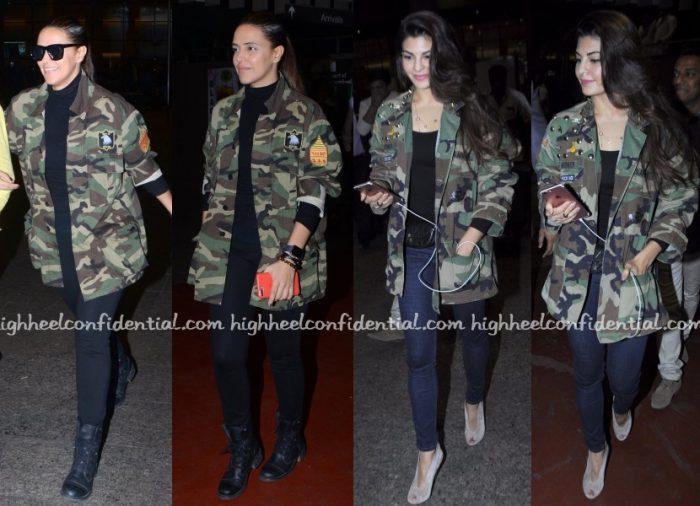 neha-dhupia-saint-laurent-jacqueline-fernandez-camouflage-jackets