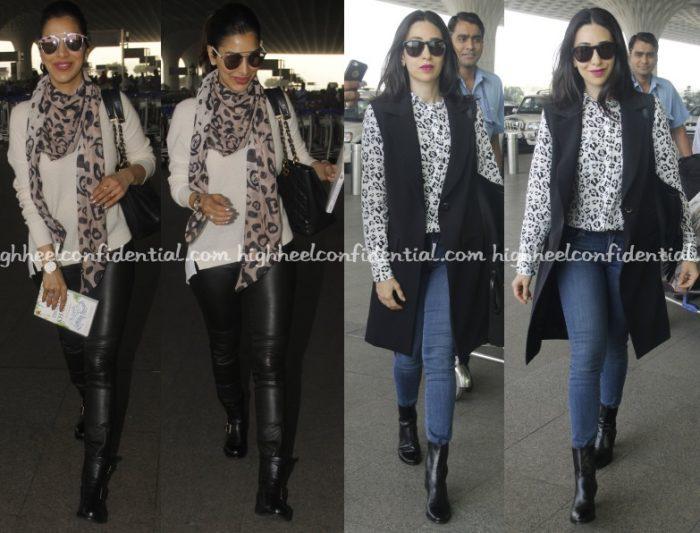sophie-choudry-karisma-kapoor-mumbai-airport-leopard-print