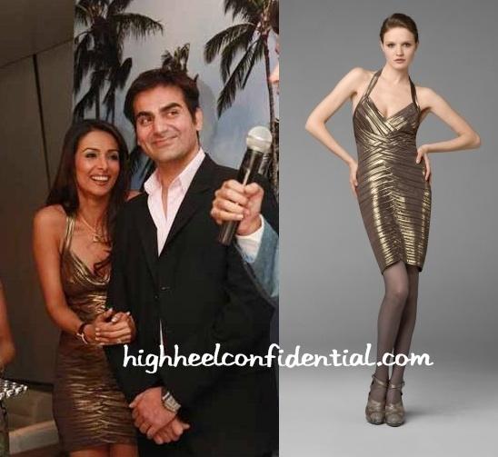 malaika-arora-bcbg-metallic-dress