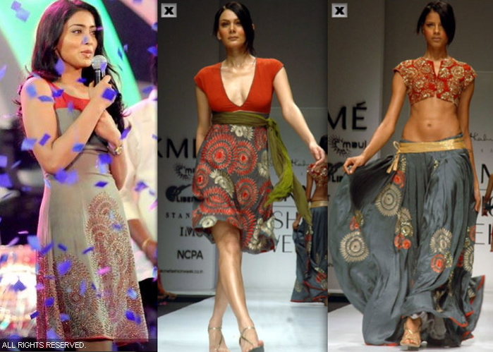 shriya-saran-manada-mayilada-finale-anand-kabra-dress