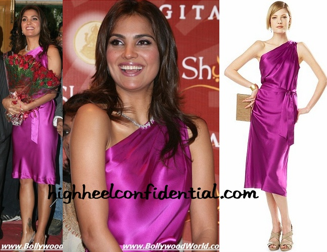 lara-dutta-mmtc-festival-of-gold-pink-banana-republic-dress