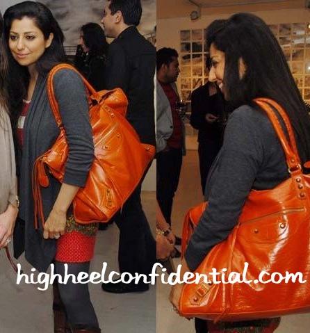 sabina-singh-balenciaga-orange-bag