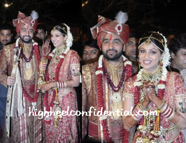 shilpa-shetty-wedding-red-tarun-tahiliani-sari