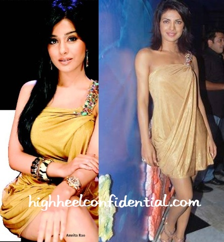 amrita-rao-priyanka-chopra-same-gold-dress