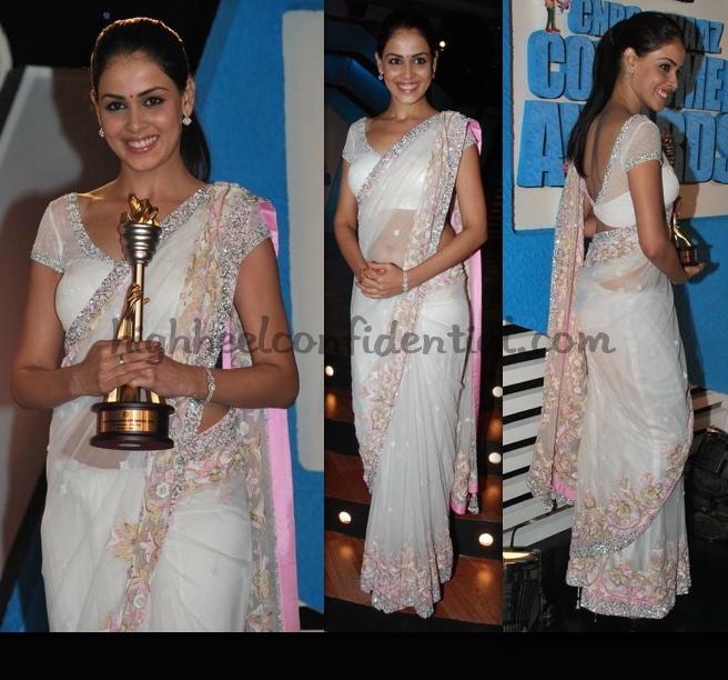 cnbc-awaaz-consumer-awards-2010-genelia-dsouza-white-sari