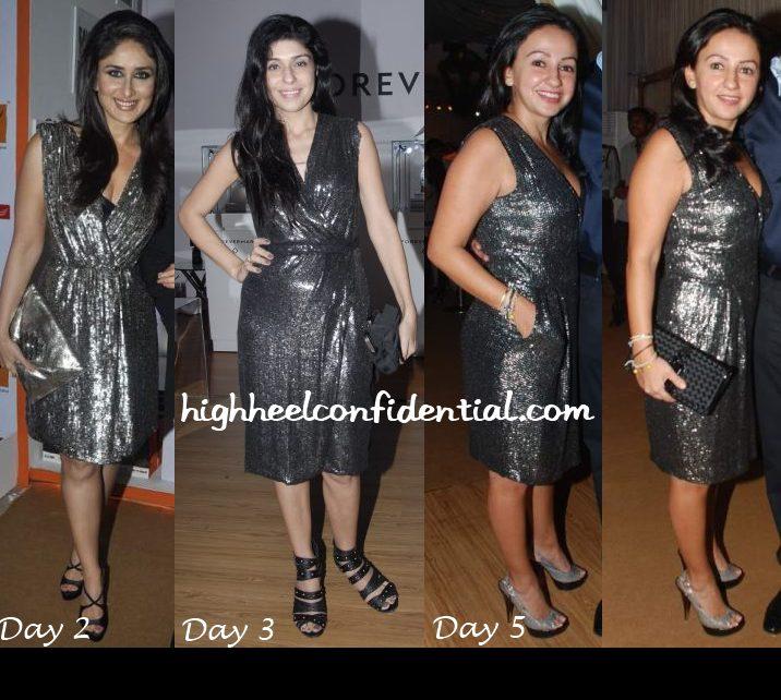 silver dress black pumps