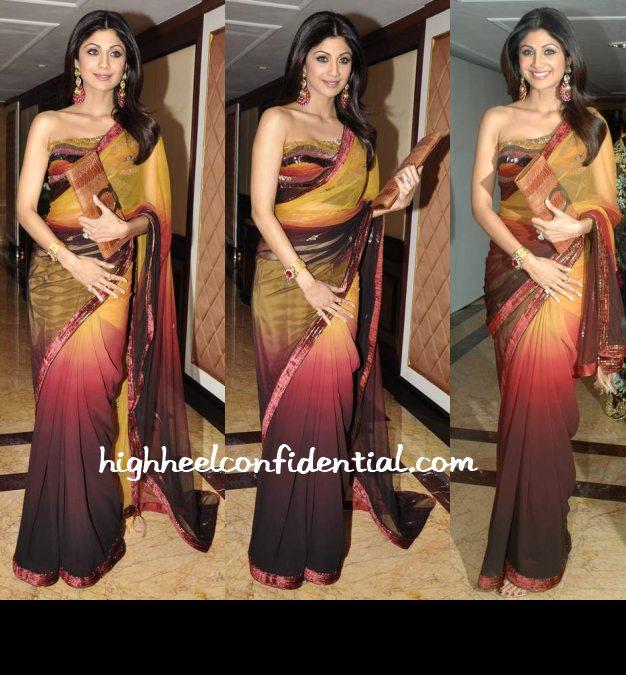 shilpa shetty, sari, neelam, wedding reception, ferragamo clutch