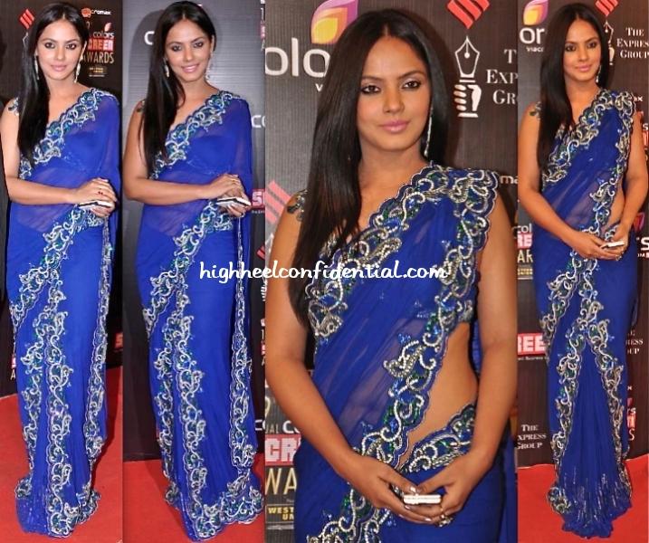 screen-awards-2013-neetu-chandra-archa-kochchar-sari