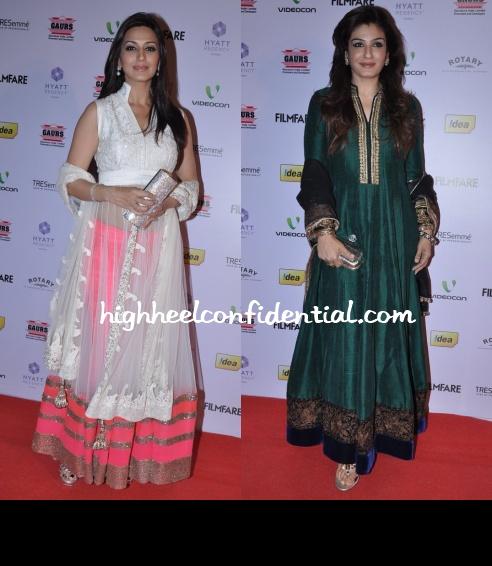 sonali-bendre-raveena-tandon-filmfare-nominations-2013