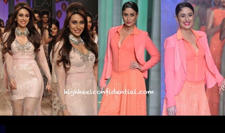 Karisma Kapoor For Shehlaa and Kareena Kapoor For Namrata Joshipura At LFW Summer Resort 2013