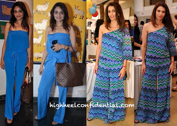 Madhoo Shah At Shaan Bhatnagar Exhibition And Rhea Pillai At Magic Rainbow Exhibition