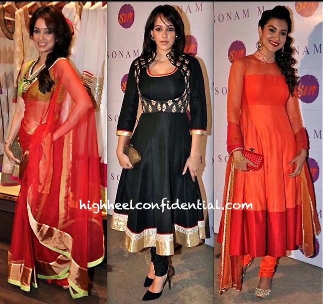 Vidya Malvade Hazel Keech And Gauhar Khan At Sonam Modi Store Launch