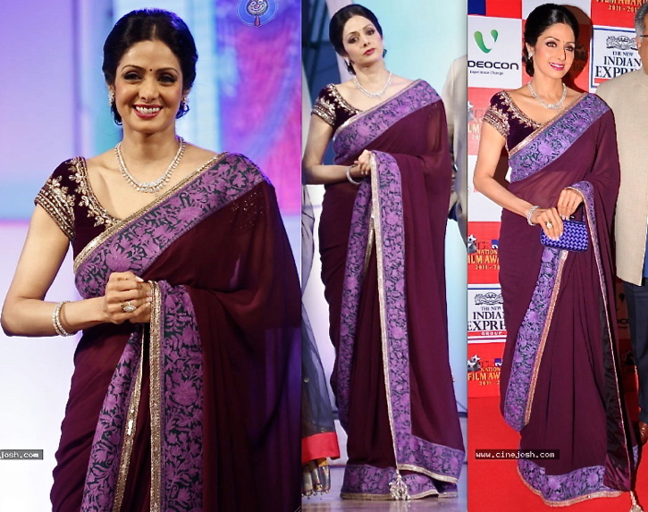 Sridevi In Manish Malhotra At TV9 TSR Awards 2013