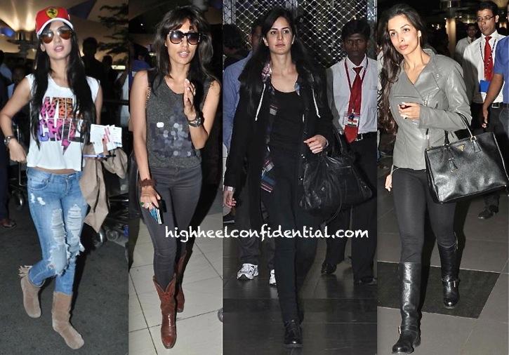 bombay airport celebrities-sonal chauhan-chitrangada singh-katrina kaif-malaika arora-1