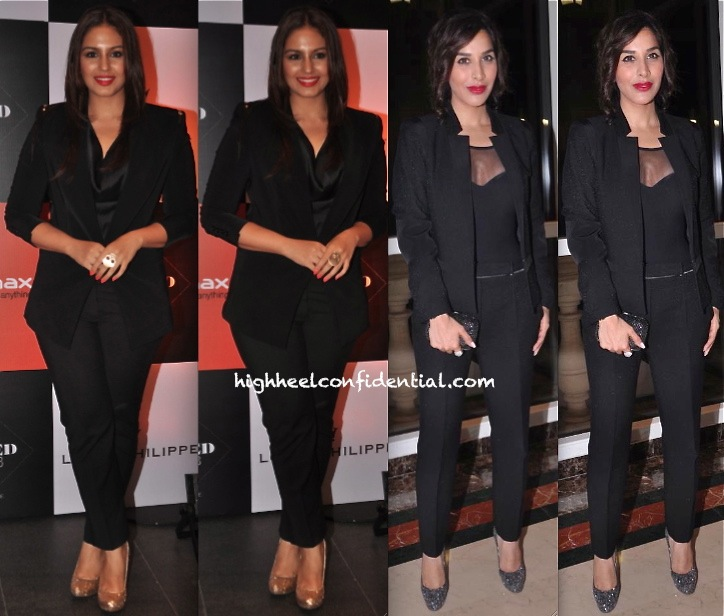 Huma Qureshi In Zara At GQ India Best Dressed Men 2013 Event and Sophie Choudry  In Sandro At Lonely Planet Awards 2013