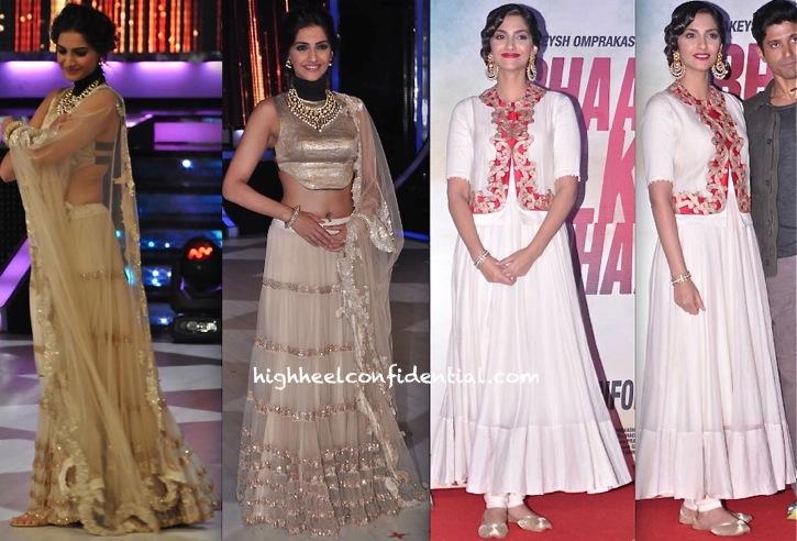 In Anamika Khanna- Sonam Kapoor On Jhalak Dikhhla Jaa Sets For Raanjhanaa And At Bhaag Milkha Bhaag First Look Launch