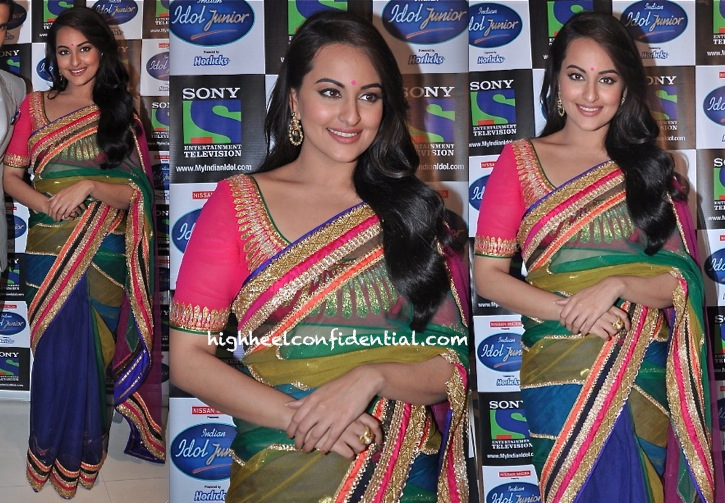 Sonakshi Sinha In Abu Sandeep Promotes Lootera On Indian Idol Junior Sets