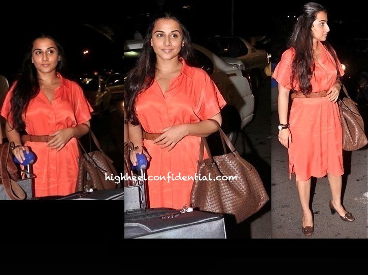 Vidya Balan photographed at the airport as she heads for IIFA