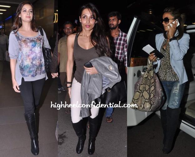 dia-mirza-malaika-natasha-poonawala-mumbai-airport-boots
