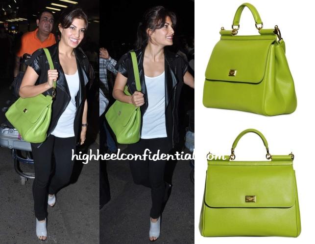 jacqueline-fernandez-mumbai-airport-iifa-2013-dolce-green-bag