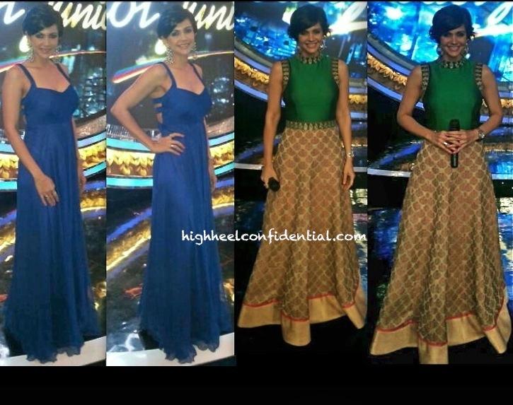 mandira bedi on india idol junior wears sonam and paras modi