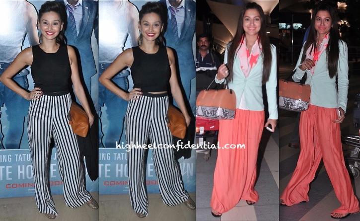 shibani dandekar at sixteen screening and gauhar khan at airport wear zara pants