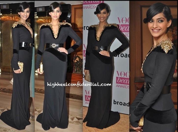 Sonam Kapoor In Alexander McQueen At Vogue Beauty Awards 2013-1