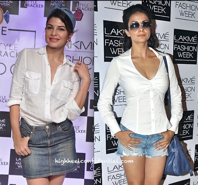 jacqueline fernandez and gul panag at lakme fashion week festive 2013 in denim and white-1