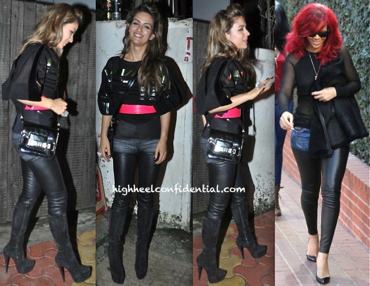 Natasha Poonawala In R13 Leather Chaps At Chunky Pandey's Birthday Bash