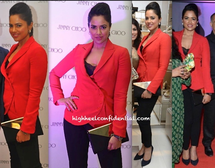 Sameera Reddy In Emporio Armani At Jimmy Choo Store Launch In Chennai