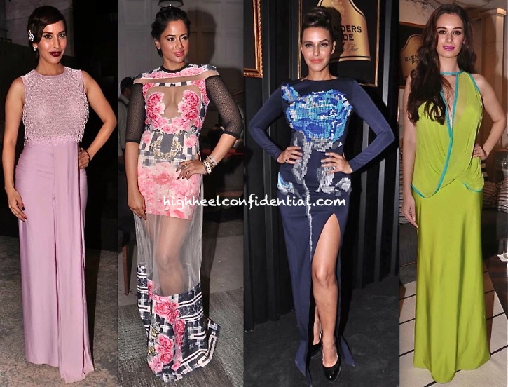 Sophie Choudry, Sameera Reddy, Neha Dhupia And Evelyn Sharma At Blenders Pride Fashion Tour 2013 Press Meet-1
