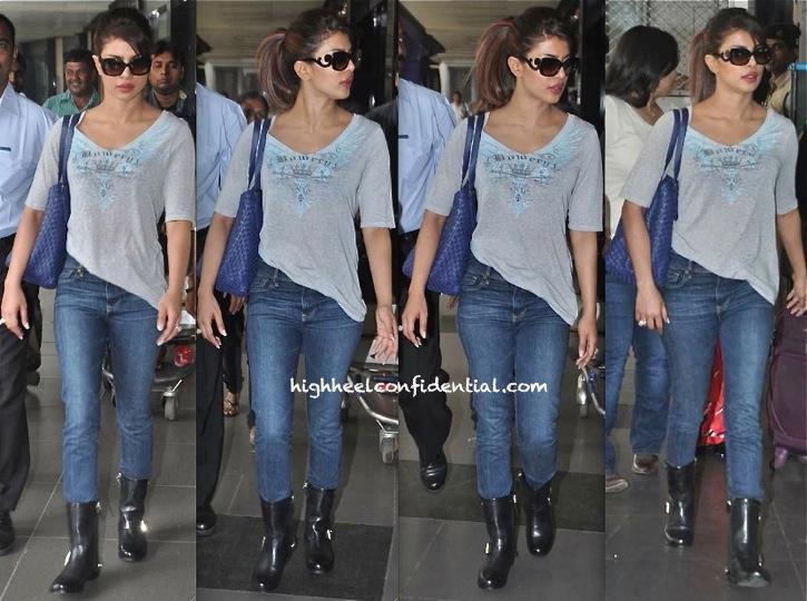 Priyanka Chopra Photographed At The Airport in prada glasses
