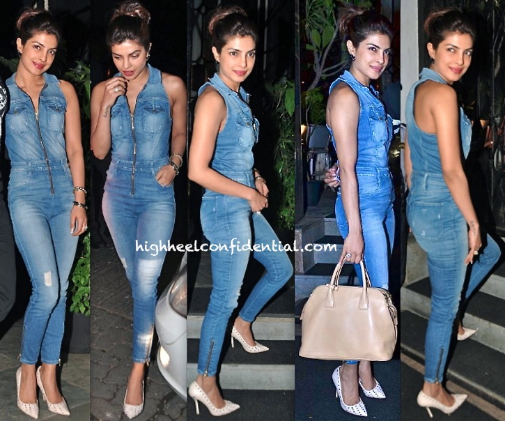f7d26f88317f Priyanka Chopra Photographed In A Guess Jumpsuit Outside A Mumbai Eatery