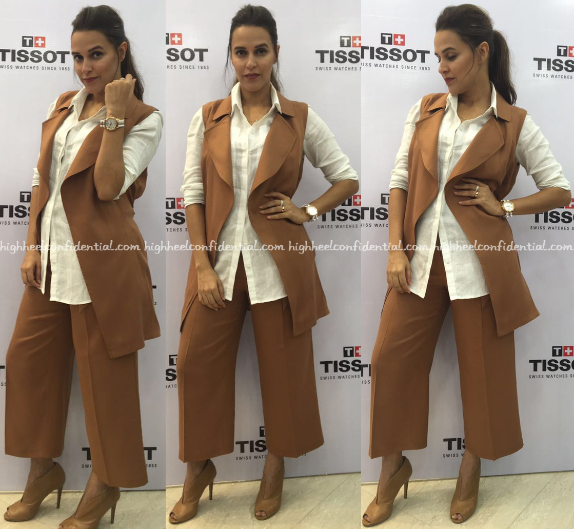 5f86280f45 Neha Dhupia Wears Marks And Spencer To Tissot Event In Hyderabad