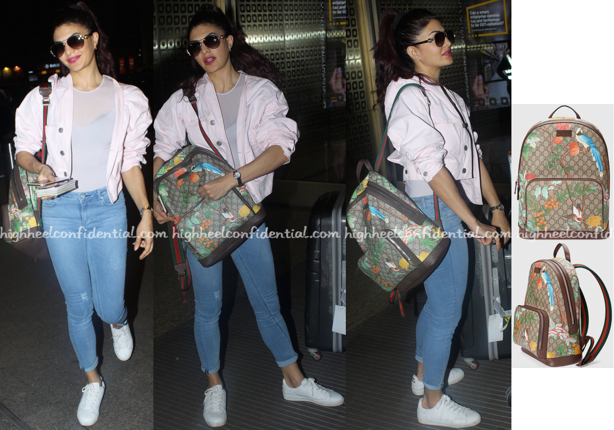 003079d908676f Jacqueline Fernandez Photographed At The Airport Gucci 'Tian GG Supreme'  Backpack- Buy